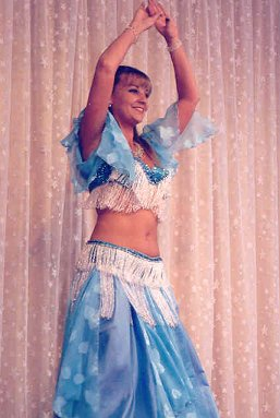 dancer in pale blue and white