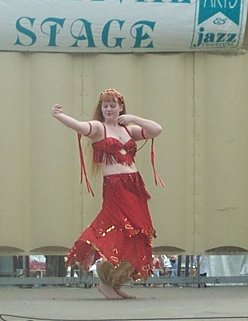 dancer in red and gold