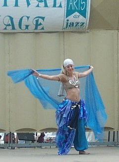 dancer in blue with sheer blue veil