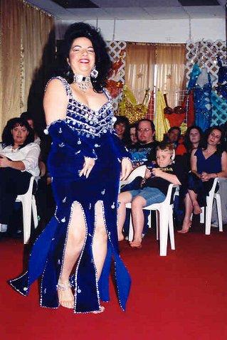 dancer in beaded blue velvet