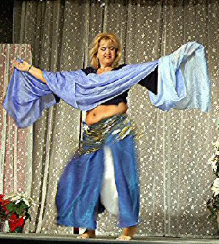 dancer in blue with veil