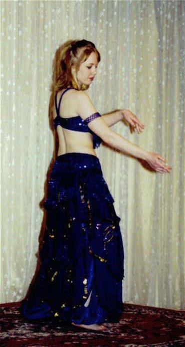 dancer in royal blue costume