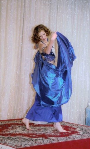 dancer in blue with silky veil