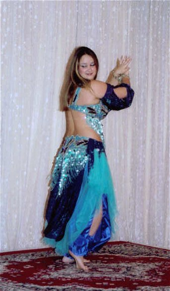 dancer in various shades of blue